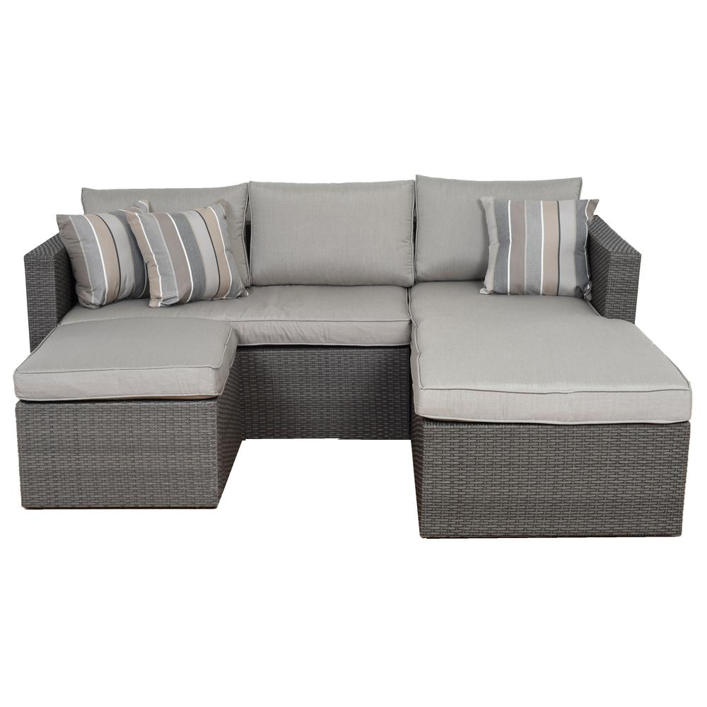 Grey Wicker Sectional Set Cushions