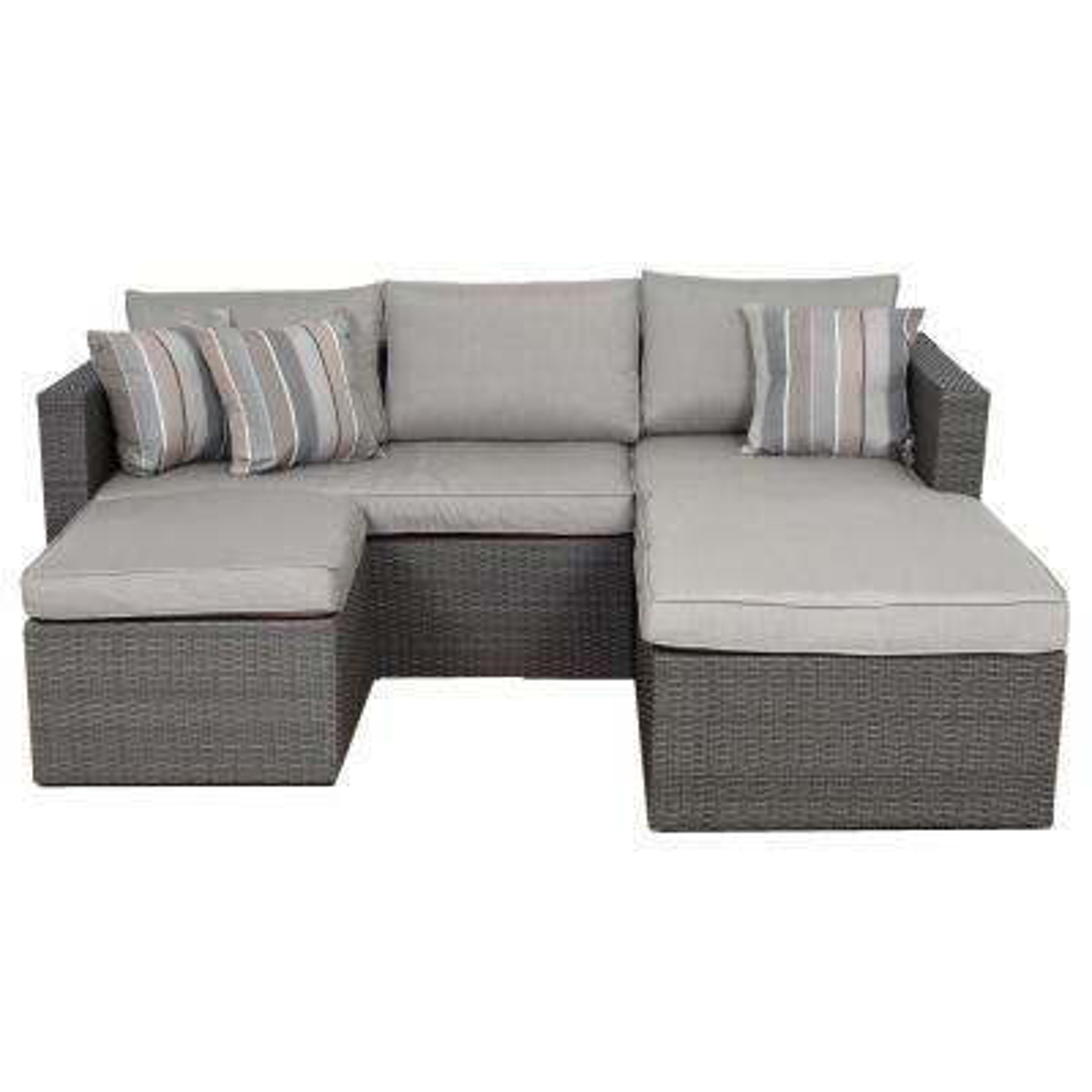 Allen Grey 3-Piece Wicker Outdoor Sectional Set with Sunbrella Cushions