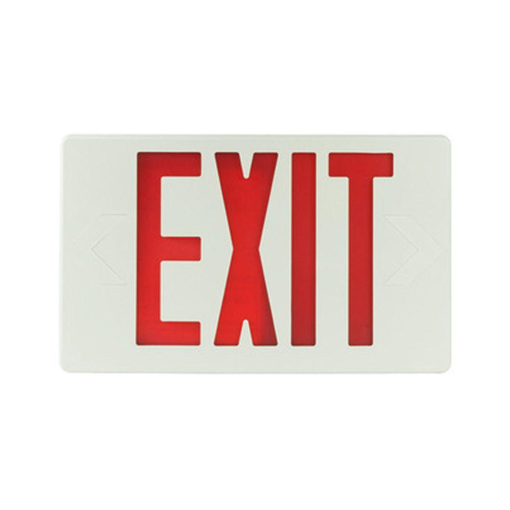 Filament Design Nexis 1-Light Thermoplastic LED Universal Mount White with Red Emergency Exit Sign