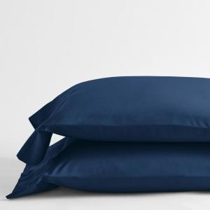 Classic Navy Blue Solid 210-Thread Count Cotton Percale Standard Pillowcase (Set of 2)