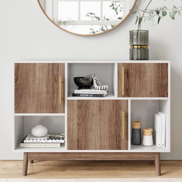 Nathan James Ellipse White Cube Storage with Display Shelves and Brown Cabinet Doors