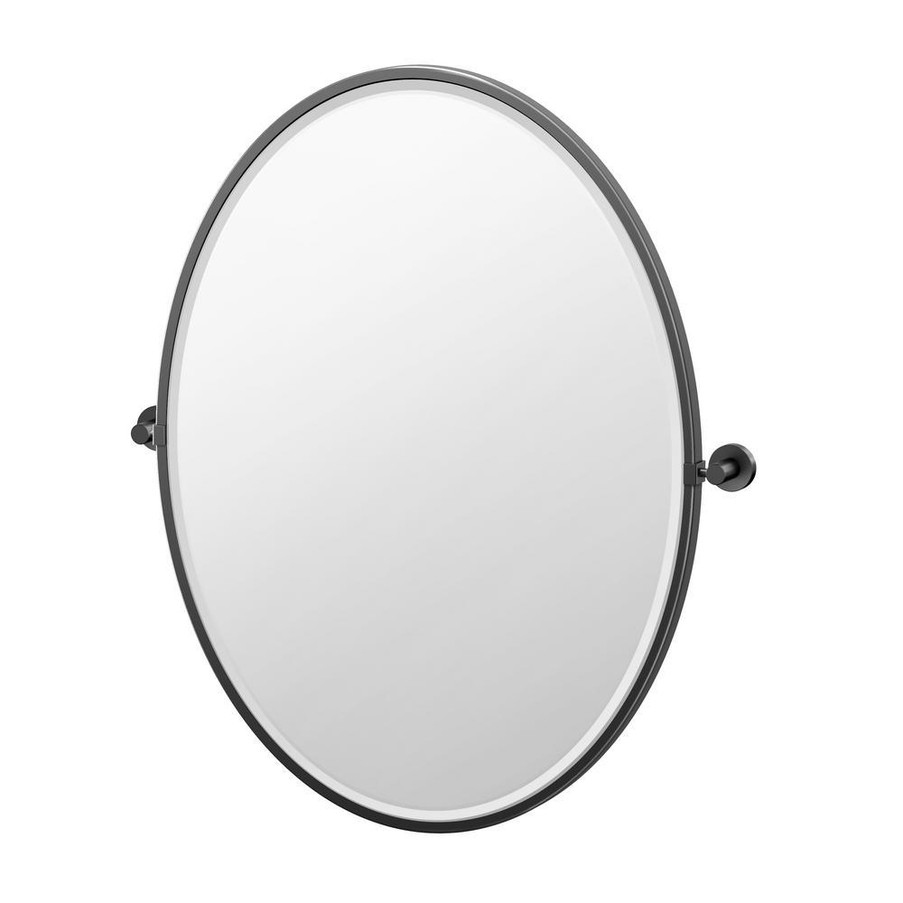 Glam 25 in. W x 33 in. H Framed Oval Mirror in Matte Black