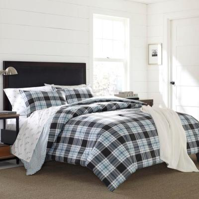 3-Piece Blue Lewis Plaid Full/Queen Duvet Cover Set