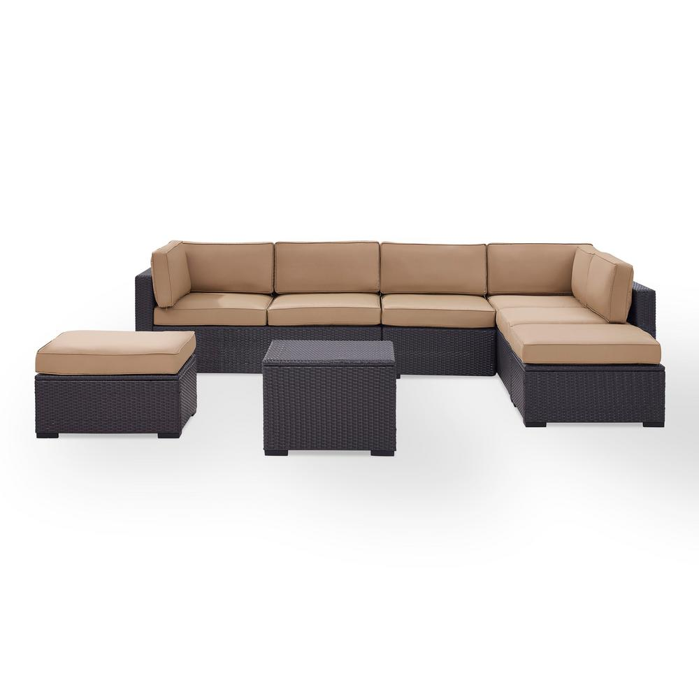 Pleasing Crosley Biscayne 7 Person Wicker Outdoor Seating Set With Mocha Cushions 2 Loveseats 1 Armless Chair Coffee Table 2 Ottomans Creativecarmelina Interior Chair Design Creativecarmelinacom