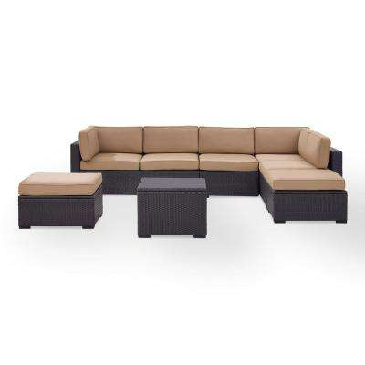 Biscayne 7-Person Wicker Outdoor Seating Set with Mocha Cushions -2 Loveseats, 1 Armless Chair, Coffee Table, 2 Ottomans