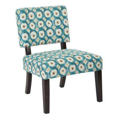 Jasmine Geo Dot Teal Fabric Accent Chair