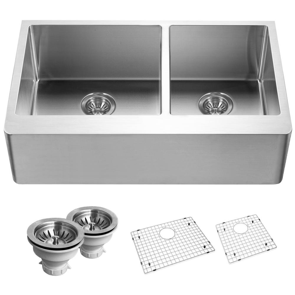 Epicure Series Undermount Stainless Steel 33 in. Double Bowl Kitchen Sink