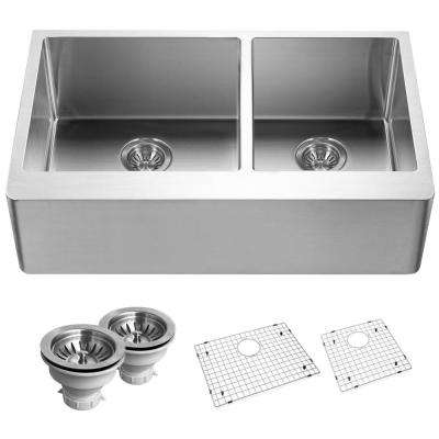 Lovely Epicure Series Undermount Stainless Steel 33 In. Double Bowl Kitchen Sink  In Satin Brushed