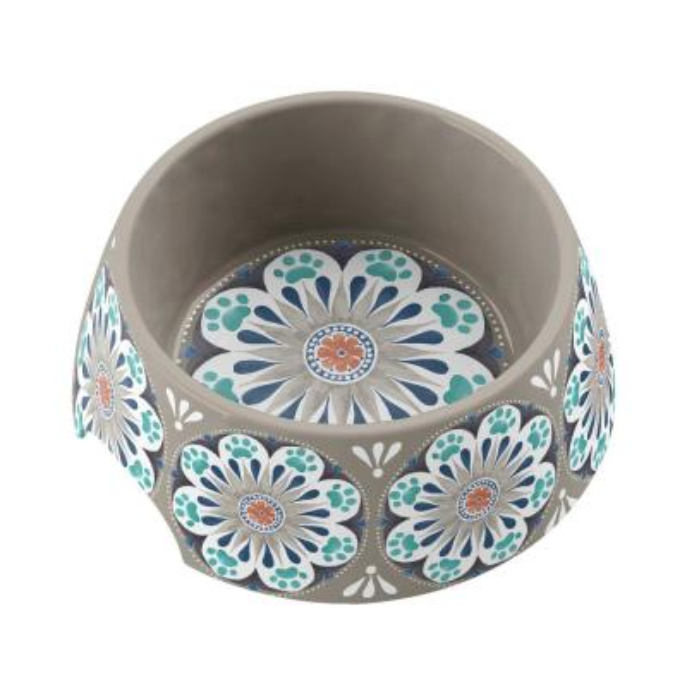 Carmel Medallion Medium Pet Bowl in Grey