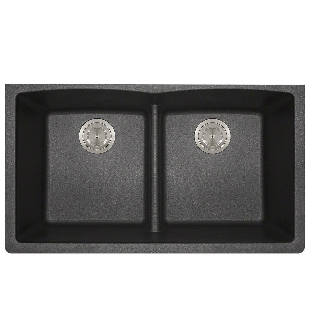 Mr Direct Undermount Kitchen Sink Composite Granite 33 In Low Divide Equal Double Basin