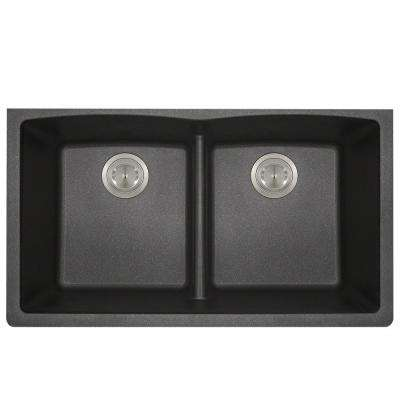 Undermount Kitchen Sink Composite Granite 33 in. Low-Divide Equal Double Basin in. Black
