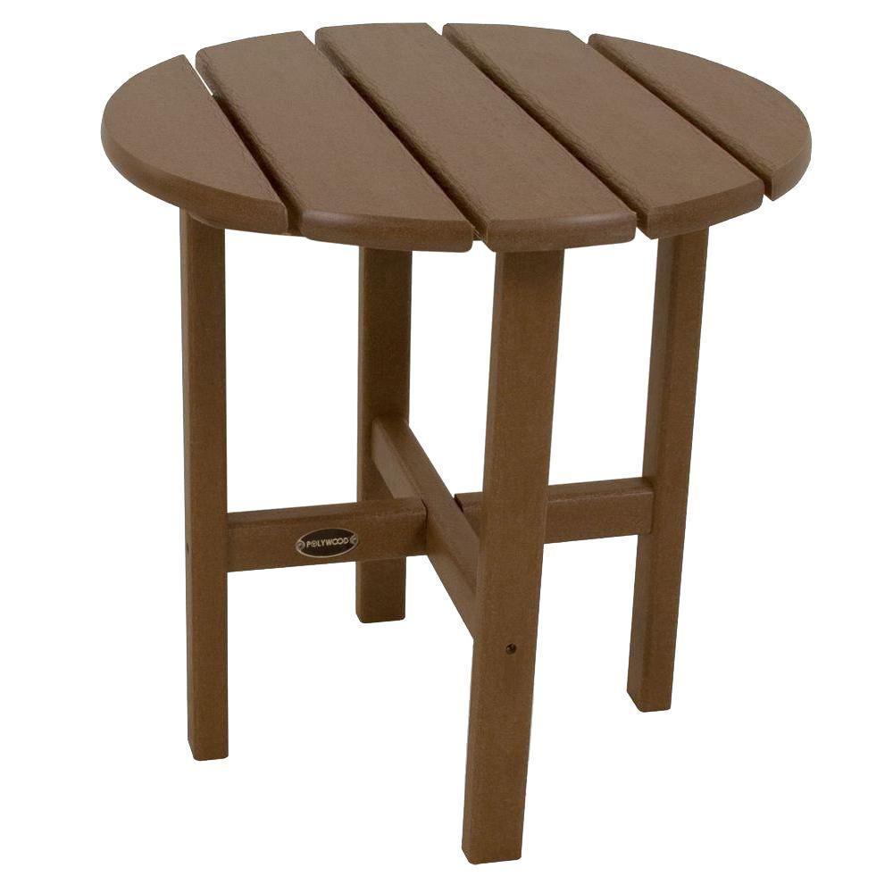 POLYWOOD 18 in. White Round Patio Side Table-RST18WH - The Home Depot