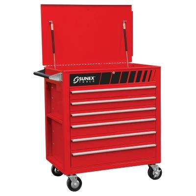 38 in. Premium Full 6-Drawer Service Utility Cart in Red