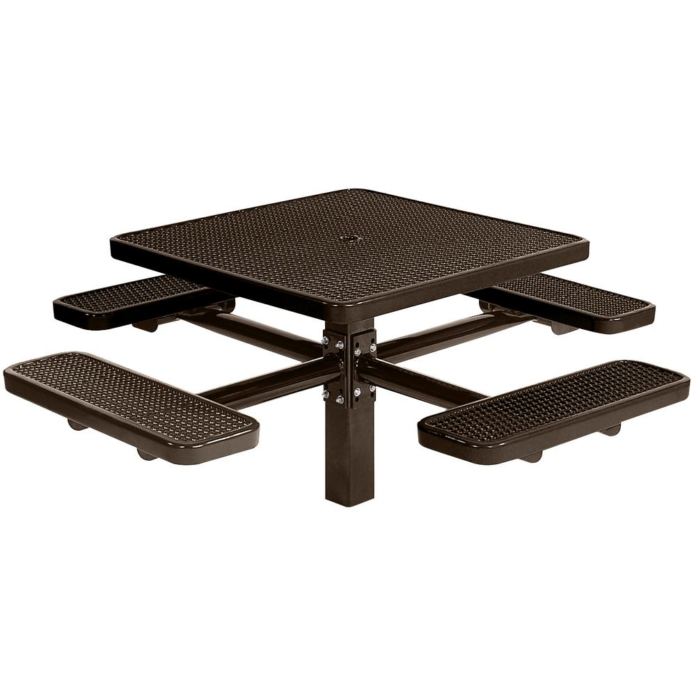 Park 46 in. Brown Commercial Square Picnic Table with 4 Seats