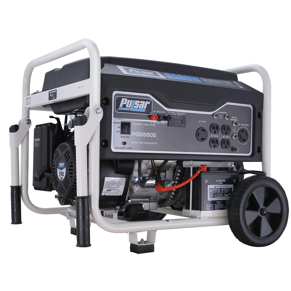 Pulsar 6,580/5,500-Watt Gasoline Powered Electric/Recoil Start Portable Generator with CARB Compliant 274 cc Engine Pulsar's PG6580E gas-powered generator is a rugged and reliable portable power source that you can count on when you need it most. The single cylinder, OHV engine produces an impressive 6,580 peak watts of power for running appliances, tools, and more. Convenient drop-down handles and sturdy never-flat wheels provide added mobility and easy storage. Whether you're caught in power-outage or in need of a portable energy supply while away from home, the PG6580E is certainly a fantastic choice.