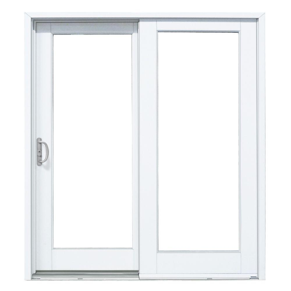 MP Doors 60 in. x 80 in. Woodgrain Interior and Smooth White Left-Hand Composite PG50 Sliding Patio Door