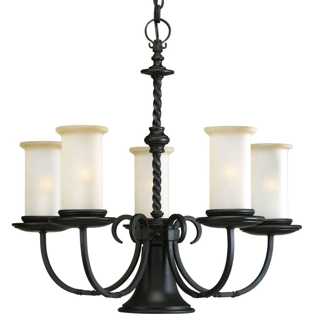 Santiago Collection 6-Light Forged Black Chandelier with Jasmine Mist Glass