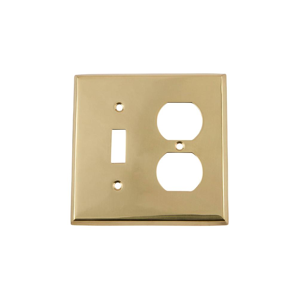 New York Switch Plate with Toggle and Outlet in Polished Brass