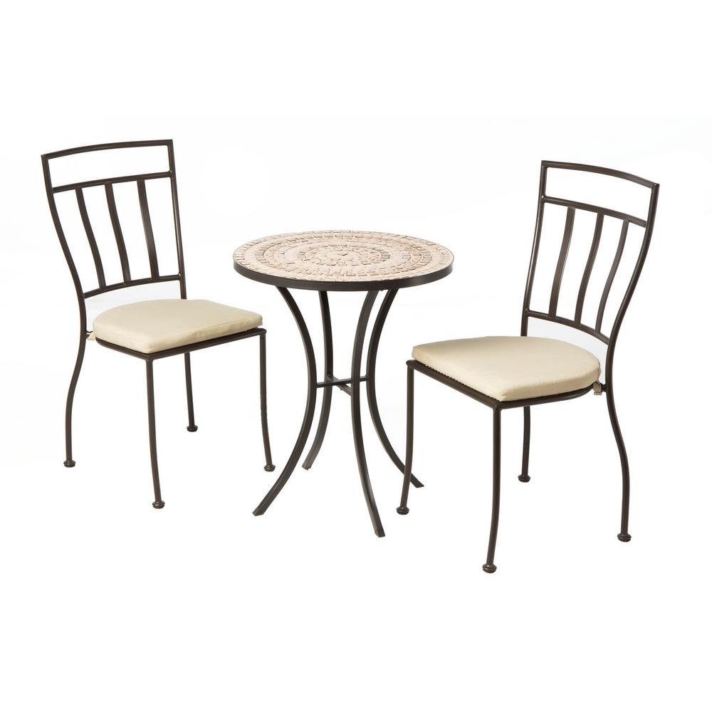 alfresco 3 piece outdoor dining bistro set with 24 in round ceramic top bistro table and 2. Black Bedroom Furniture Sets. Home Design Ideas