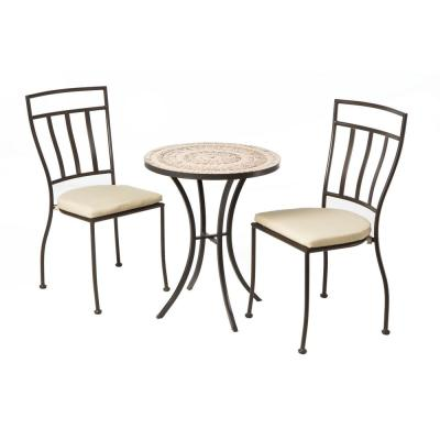 3-Piece Outdoor Dining Bistro Set with 24 in. Round Ceramic Top Bistro Table and 2 Bistro Chairs with Tan Cushions