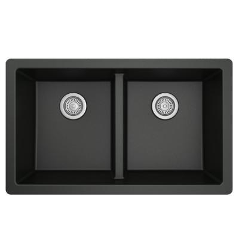 Quartz Black 33 in. 50/50  Double Bowl Composite Undermount Kitchen Sink