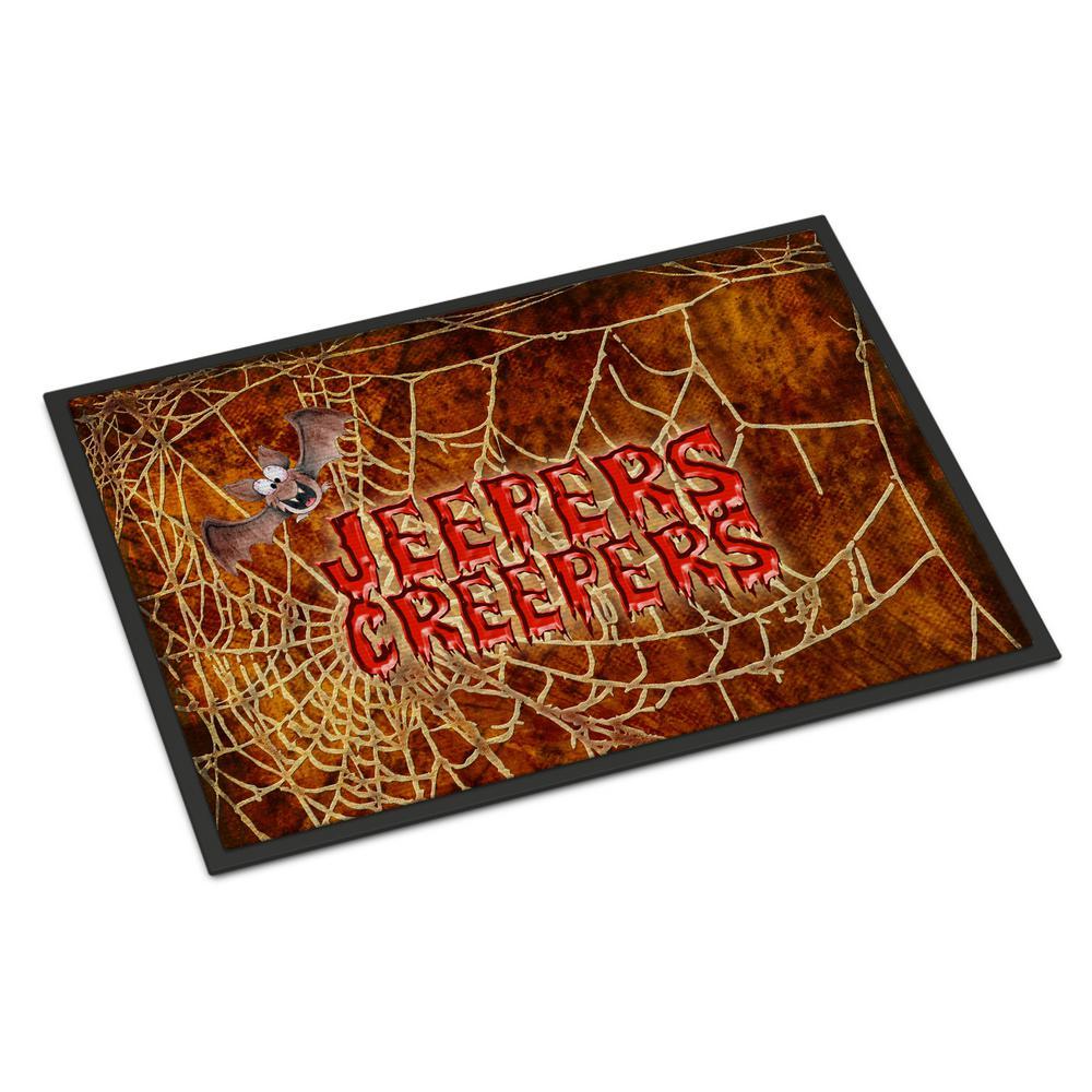 Indoor Outdoor Jeepers Creepers With Bat And Spider Web Door Mat