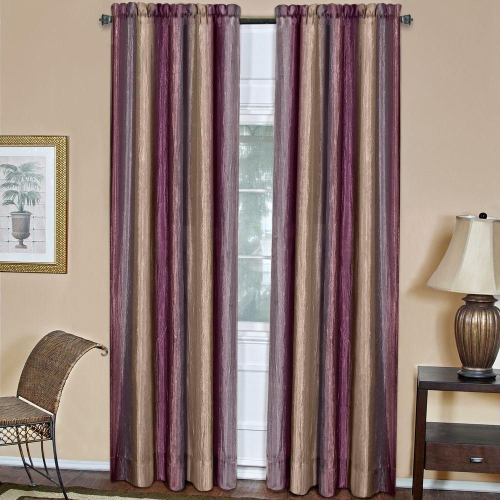 Achim Semi-Opaque Ombre 50 in. W x 84 in. L Curtain Panel in Aubergine
