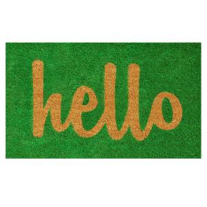 Home & More Hello Green/Natural Script 17 inch x 29 inch Door Mat by Home & More