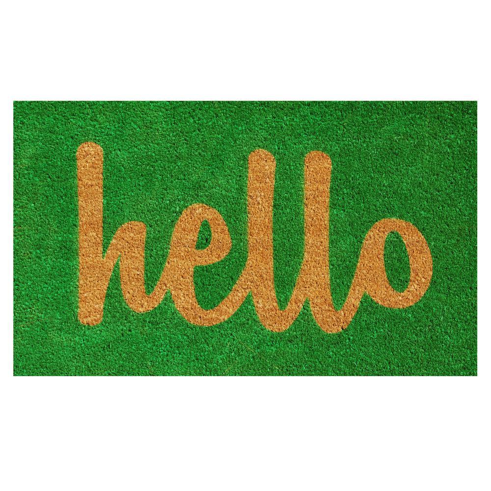 Hello Green/Natural Script 17 in. x 29 in. Door Mat