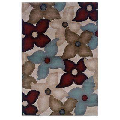 Milan Collection Garnet and Ivory 5 ft. x 7 ft. 7 in. Indoor Area Rug