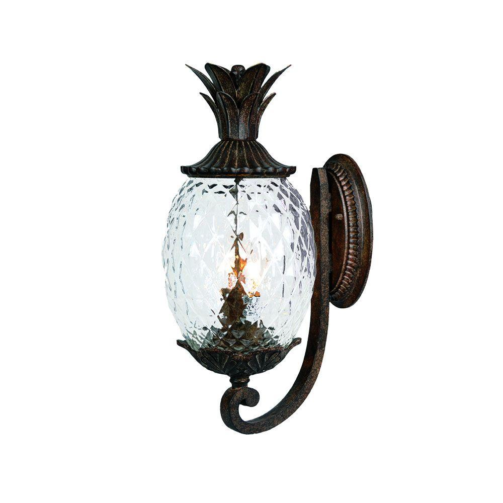 Acclaim lighting lanai collection 2 light black coral outdoor wall lantern sconce
