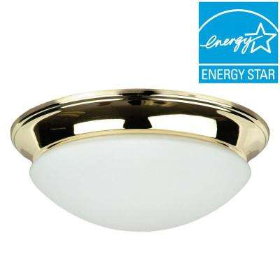 Streight 2-Light Polished Brass Flush Mount