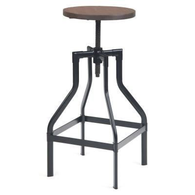 Conley 30 in. Cocoa Brown Industrial Metal Bar Stool with Elm Wood