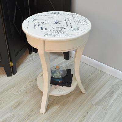 Vintage Cream End Table