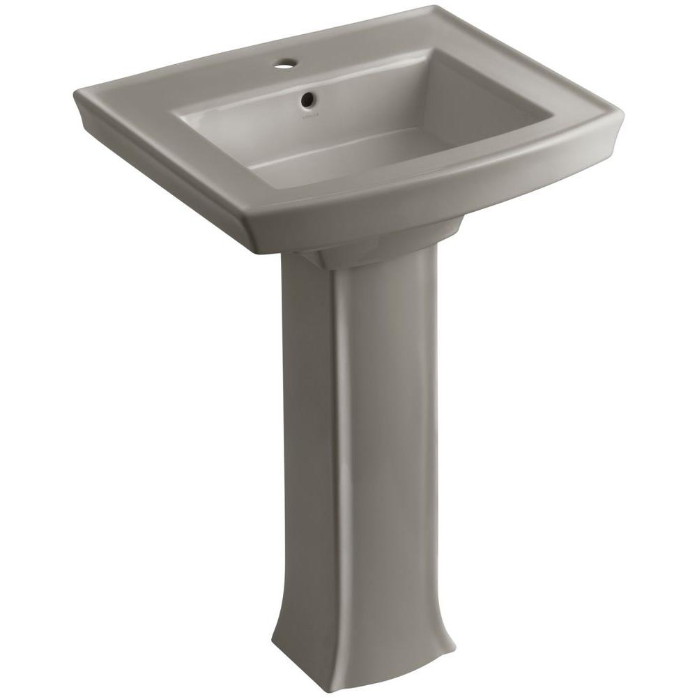 KOHLER Archer Vitreous China Pedestal Combo Bathroom Sink in Cashmere with Overflow Drain