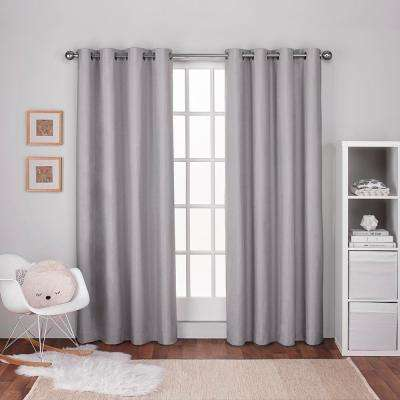 Textured Linen Dove Grey Thermal Grommet Top Window Curtain