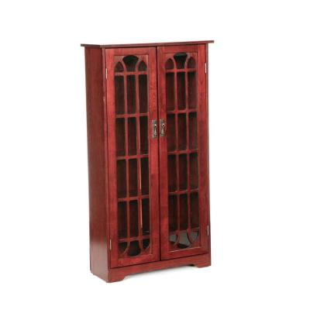 330-Disc Cherry Window Pane Media Cabinet