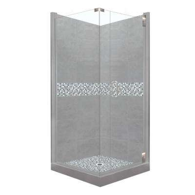 Del Mar Grand Hinged 42 in. x 42 in. x 80 in. Right-Hand Corner Shower Kit in Wet Cement and Chrome Hardware