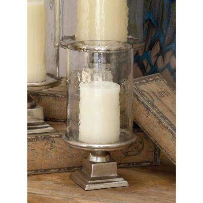 11 in. Silver Aluminum Glass Hurricane Candle Holder