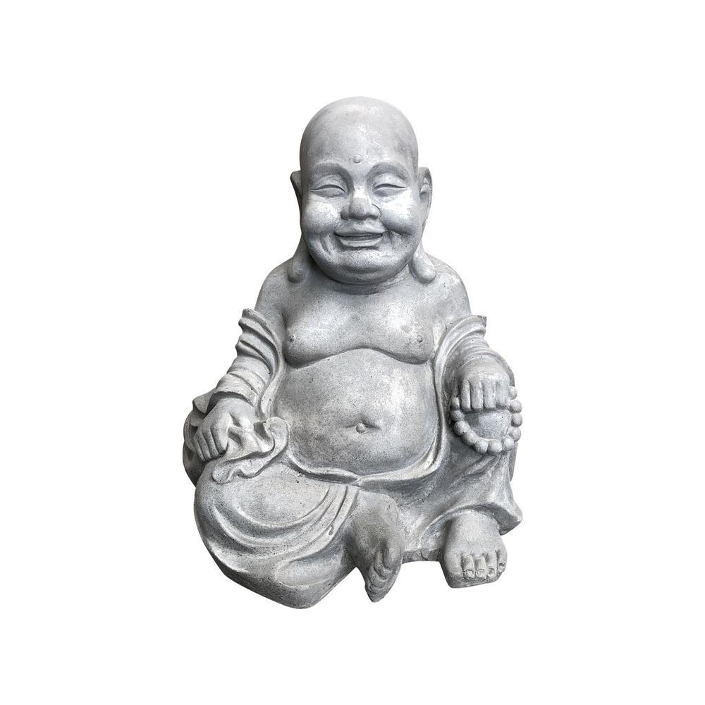 15.7 in. H Light Grey Lightweight Concrete Happy Buddha Statues