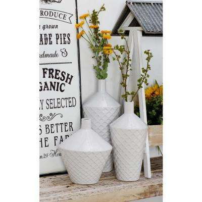 Matte White Ceramic Decorative Vase with Crisscross Patterns and Narrow-Neck Form (Set of 3)