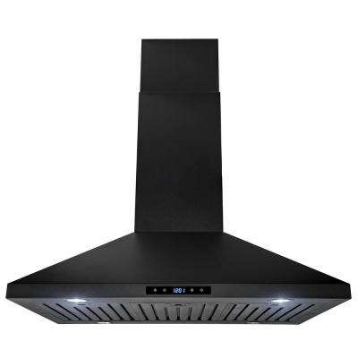 36 in. Kitchen Island Mount Range Hood Stainless Steel in Black Finish with Touch Control
