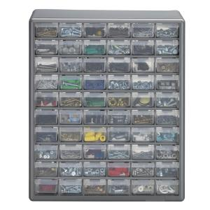 60 Compartment Gray Storage Cabinet For Small Parts Organizer