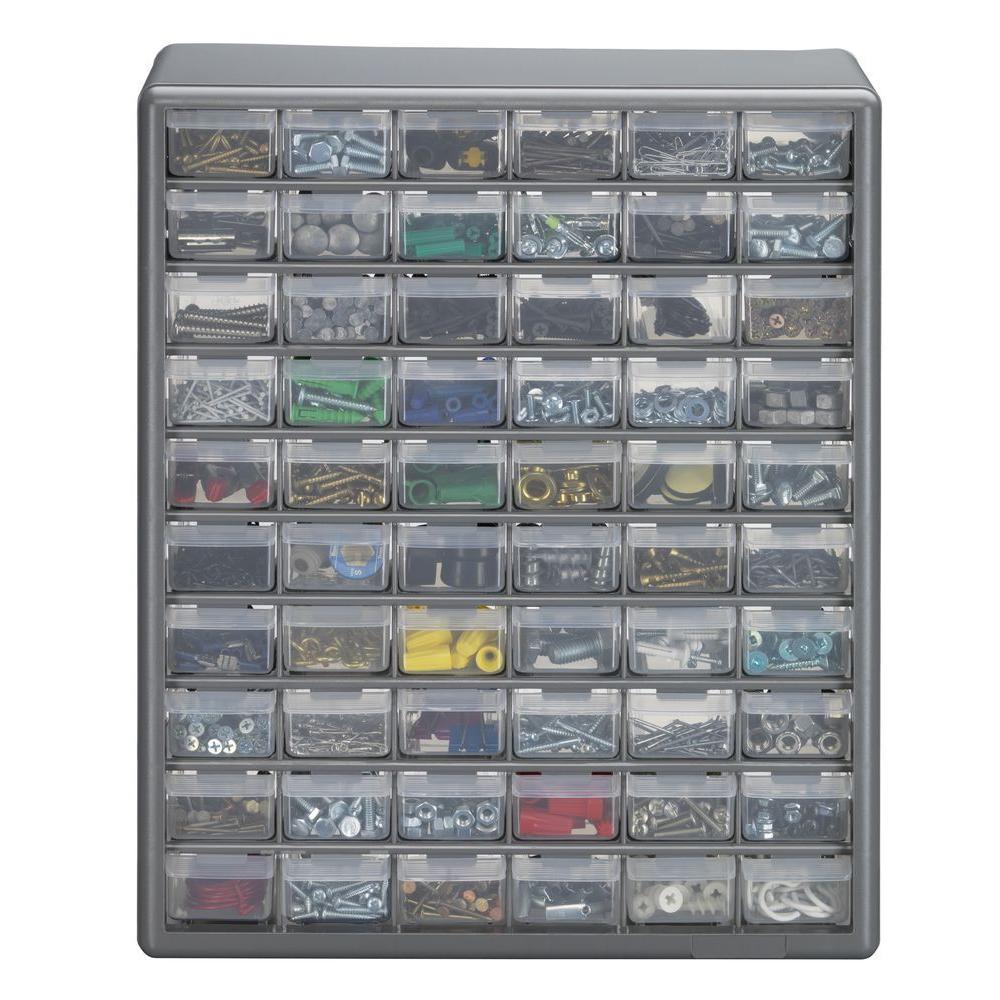 60-Compartment Gray Storage Cabinet for Small Parts Organizer