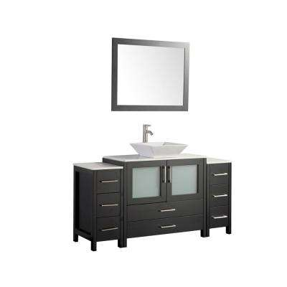 60 in. W x 18.5 in. D x 36 in. H Bathroom Vanity in Espresso with Single Basin Vanity Top in White Ceramic and Mirror