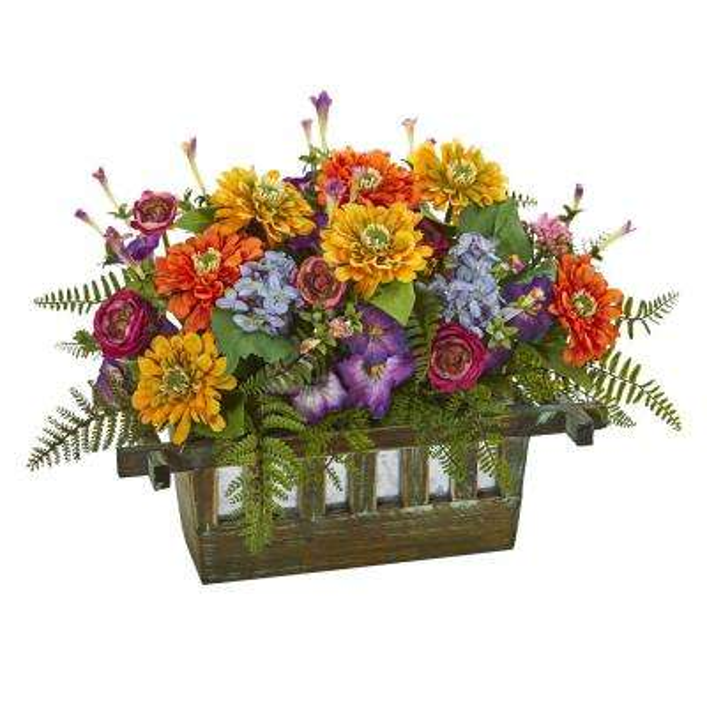 Indoor Mixed Floral Artificial Arrangement in Rectangular Wood Planter