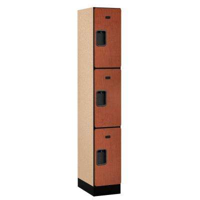 33000 Series 12 in. W x 76 in. H x 18 in. D 3-Tier Designer Wood Locker in Cherry