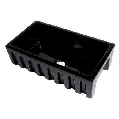 Farmhouse Fireclay 33 in. Single Bowl Kitchen Sink in Black Gloss