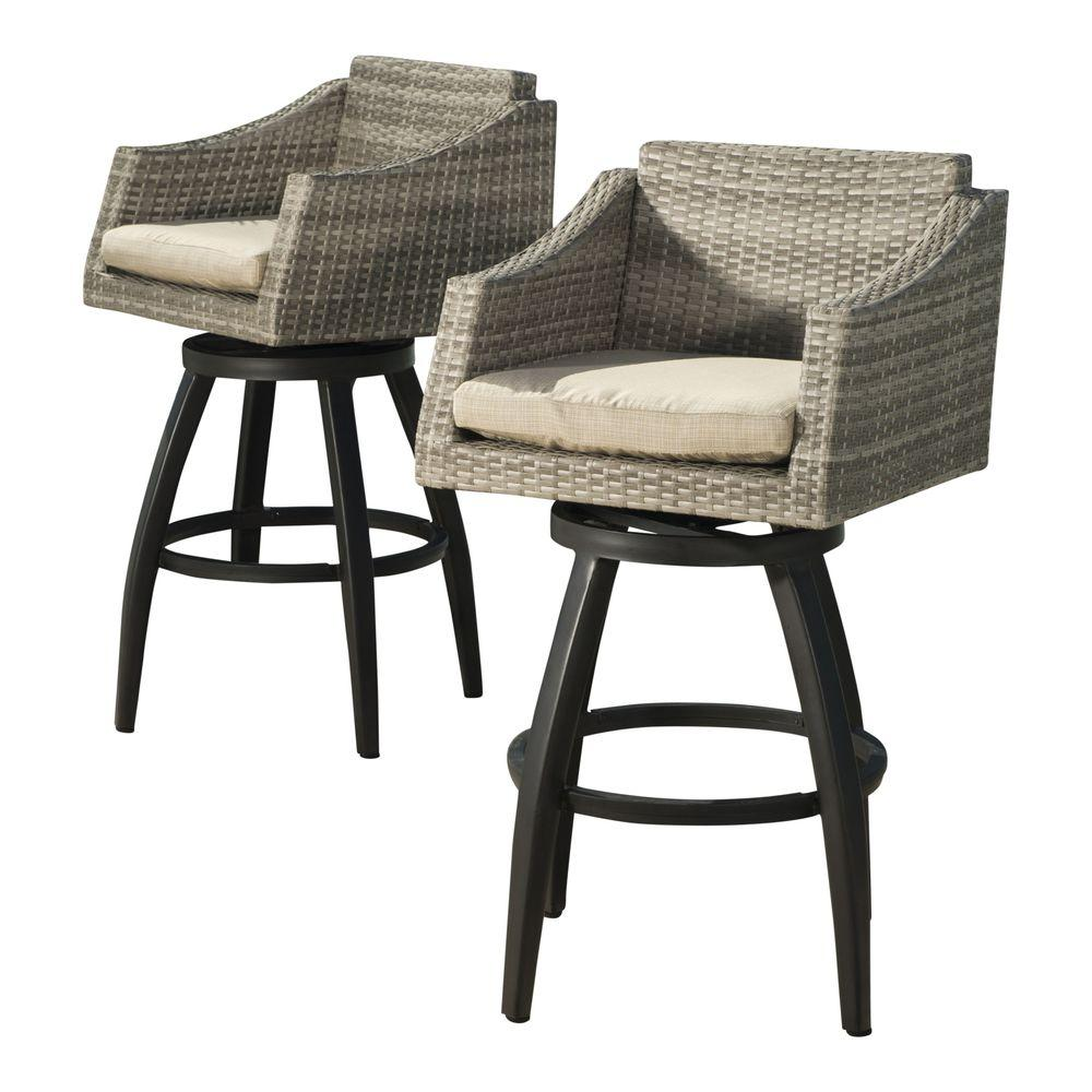 RST Brands Cannes All-Weather Wicker Motion Patio Bar Stool with Slate Grey Cushions (  sc 1 st  The Home Depot & RST Brands Cannes All-Weather Wicker Motion Patio Bar Stool with ... islam-shia.org