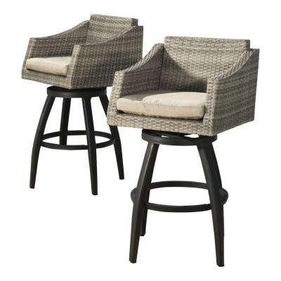 Cannes All Weather Wicker Motion Patio Bar Stool With Slate Grey Cushions 2
